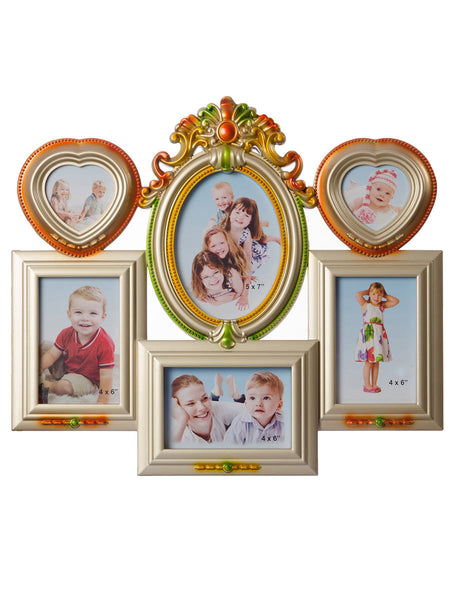 Floral Family Collage Metallic Photo Frame for 6 photos - EC-HJRME24MA199