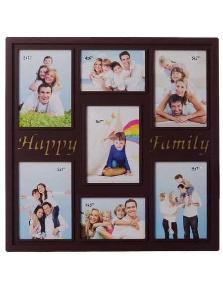 Happy Family Collage Theme Brown Photo Frame for 7 photos - EC-HJRME24MA201