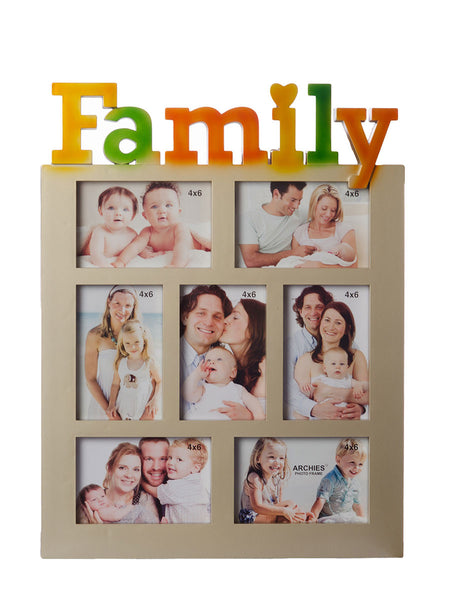 Family Collage Metallic Color Photo Frame for 7 photos - EC-HJRME24MA224