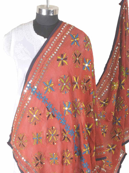 Phulkari Dupatta In Orange - CPPDC28AP45
