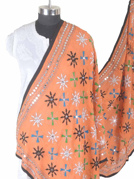 Phulkari Dupatta In Orange - CPPDC28AP6