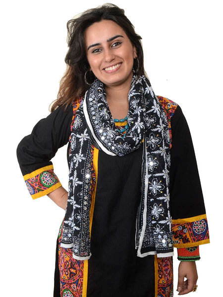 Phulkari Embroidered Stole In Black - CPPST21AP13