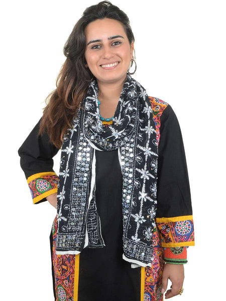 Phulkari Embroidered Stole In Black - CPPST21AP19