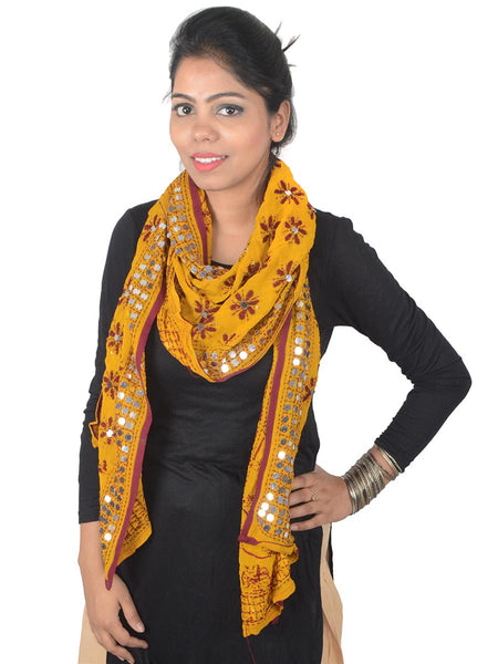 Phulkari Embroidered Stole In Yellow - CPPST21AP3