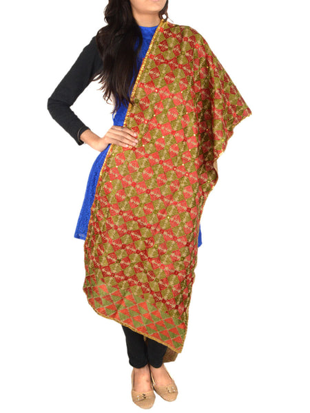 Bagh Phulkari Stole in Multicolor - CPPST23JN8