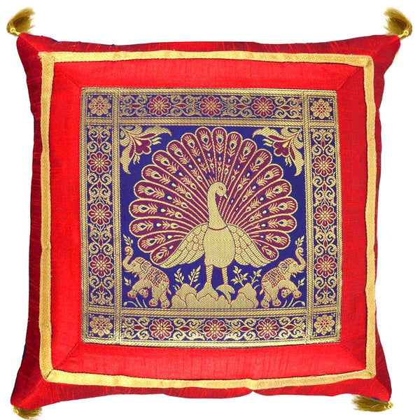 5 BANARASI CUSHION COVERS IN RED & BLUE WITH PEACOCK DESIGN- S1-CBUC17FB4