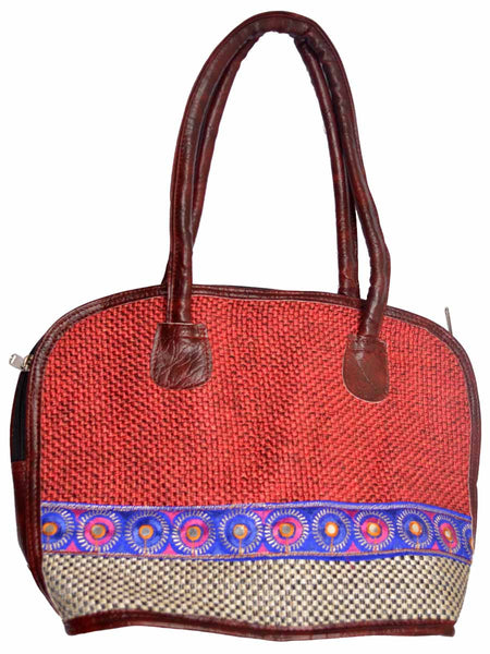 Ethnic Jute Bag From Assam In Maroon - CRUB11JL15