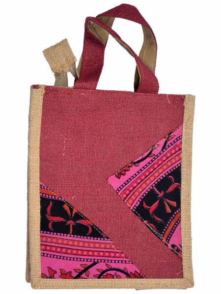 Ethnic Jute Bag From Assam In Maroon- CRUB11JL5