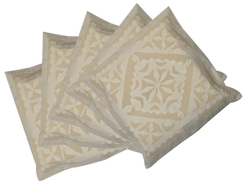 Set of Five Cushion Covers With Applique Work From Gujarat - CRUCP10JL5