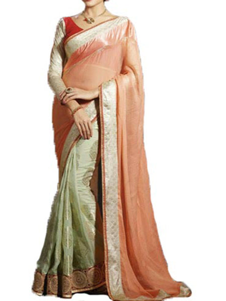 SAREE IN WHITE & PEACH FROM CHANDNI CHOWK - EC-OPDDSA16MR36