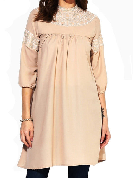 Polyester Beige Kurti With Embroidery - DG--PK26AG1
