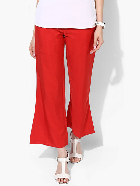 Polyester Straight Pants From Madhya Pradesh In Red - DG-PJRTS26AG1