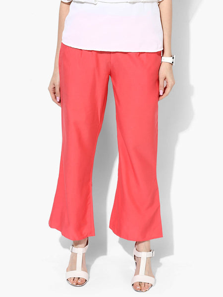 Polyester Straight Pants From Madhya Pradesh In Pink - DG-PJRTS26AG2