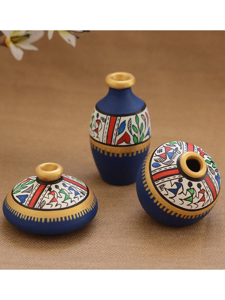 Terracotta Blue Warli Handpainted Decorative Pot(Set Of 3) - UR-IHMVP7JN57