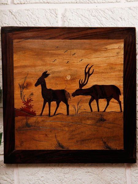 Deer Pair Wooden Inlay Wall Painting - UR-IHKWP7JN122