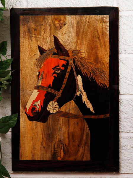 Horse Wooden Inlay Wall Painting - UR-IHKWP7JN124