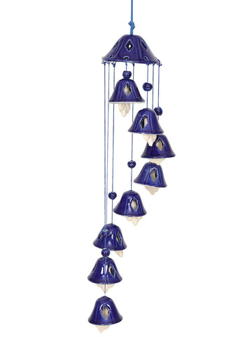 Ceramic Blue Bell Wind Chime - UR-IHDDA7JN137