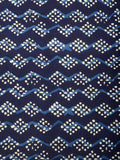 Hand Block Dabu Printed Fabric Piece From Jodhpur In Indigo Blue - DG-PJRF10JN4