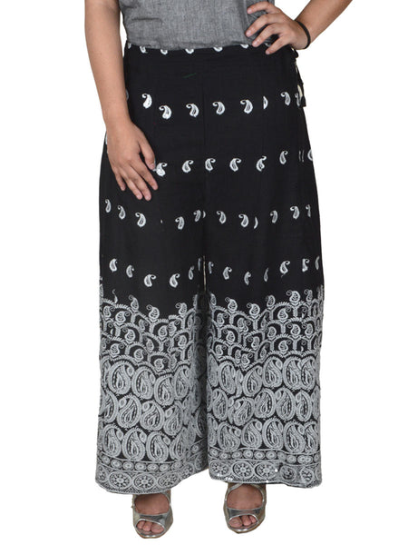 Phulkari Embroidered Cotton Divided Skirt From Punjab In Black - DPPS1SP1