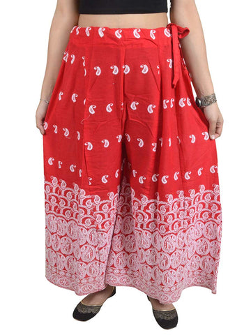 Phulkari Embroidered Cotton Divided Skirt From Punjab In Red - DPPS21AP1