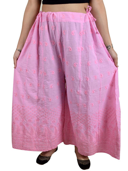 Phulkari Embroidered Cotton Divided Skirt From Punjab In Light Pink - DPPS21AP2
