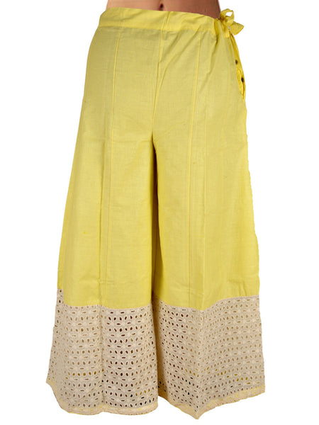 Divided Skirt From Jaipur In Lemon Yellow - DRKPSA24JL10