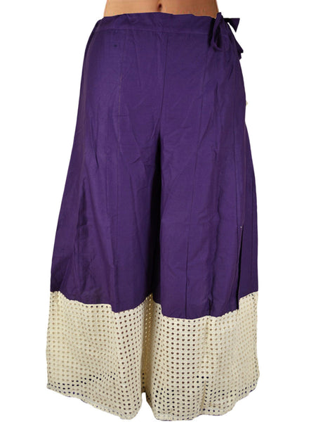 Cotton Divided Skirt From Jaipur In Deep Blue - DRKPSA24JL1