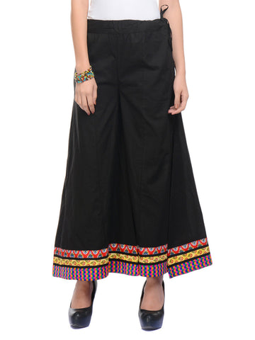 Cotton Divided Skirt From Jaipur In Black - DRKPSD5AG4