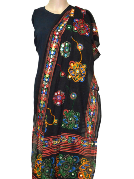 Black Kutch embroidery Dupatta - ND-CPKD26MH7