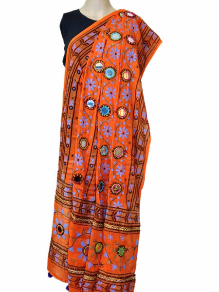 Orange Kutch embroidery Dupatta(Hand Work) - ND-CPKD30AG2
