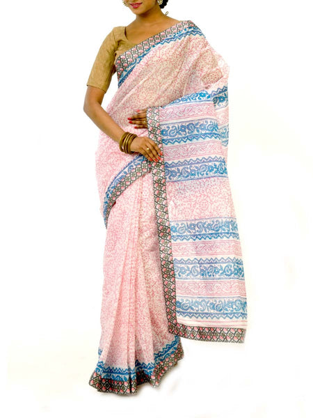 White & Blue Colors Block Printed Cotton Saree With Unstitch Blouse  From West Bengal - PWBSAI30OCT23