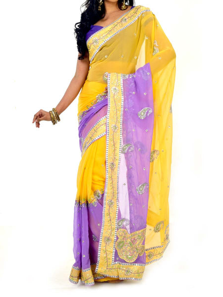 Eye Catching Yellow & Purple Colors Zari Embroidered Saree With Unstitch Blouse From West Bengal - PWBSAI30OCT31