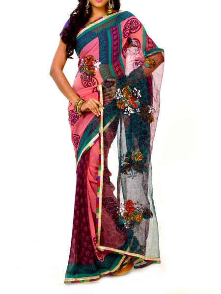 Pink & Green Colors Elegant Georgette Saree With Unstitch Blouse From West Bengal - PWBSAI30OCT33