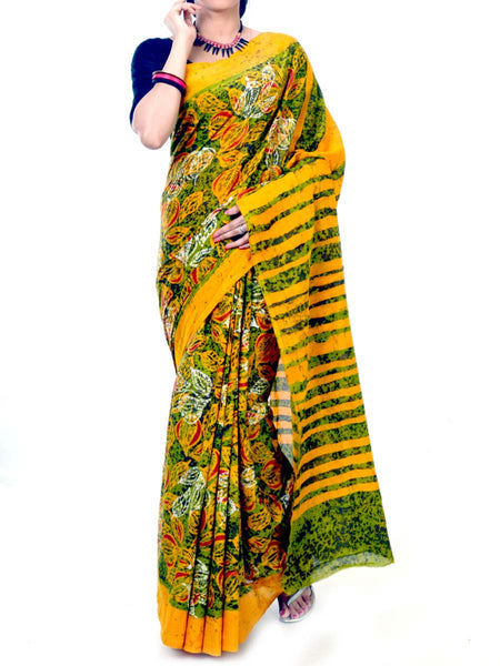 Batik Saree From West Bengal In Yellow & Green  - PWBSAI20MY2