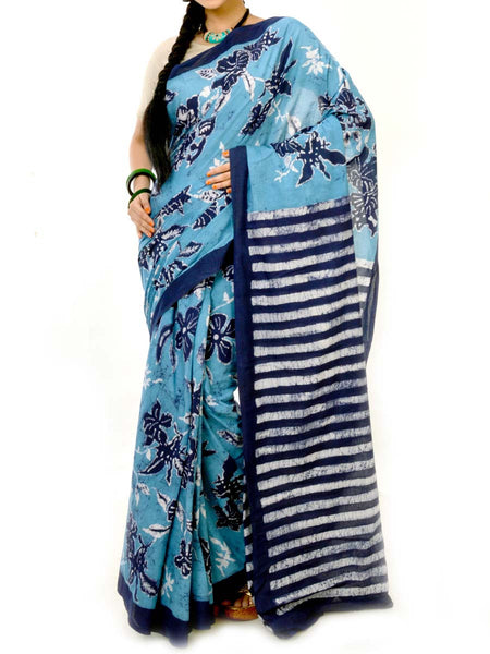 Batik Saree From West Bengal In Blue & White  - PWBSAI20MY5
