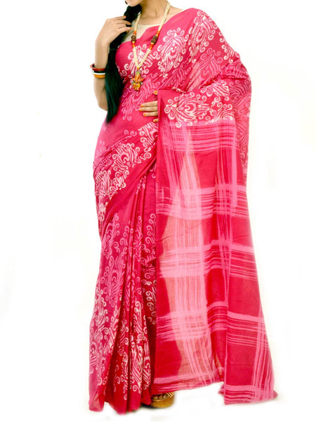 Batik Saree From West Bengal In Red & White  - PWBSAI20MY7