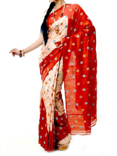 Batik Saree From West Bengal In Red & White  - PWBSAI20MY9