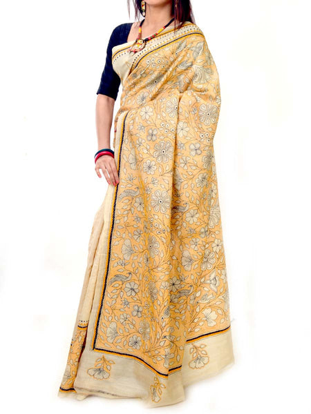 Batik Saree From West Bengal In Cream-Black & Yellow - PWBSAI20MY14