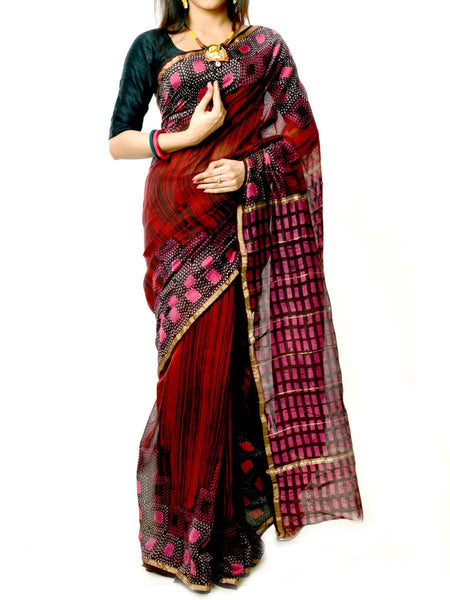Batik Saree From West Bengal In Multi Color  - PWBSAI20MY19