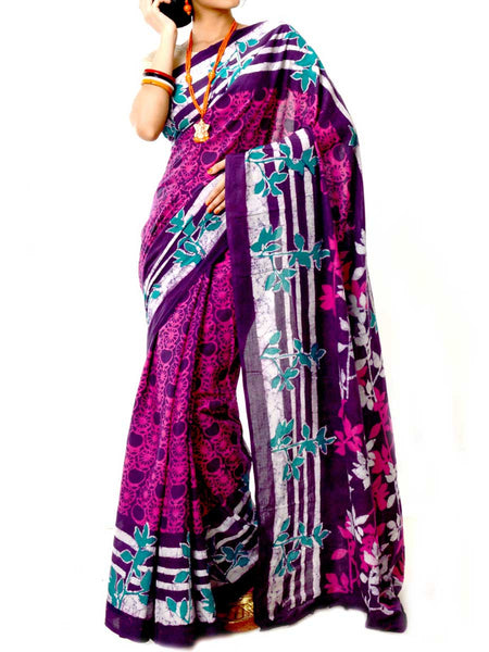 Batik Saree From West Bengal In Multi Color  - PWBSAI20MY21