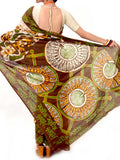 Batik Saree From West Bengal In White-Brown & Light green - PWBSAI21MY7