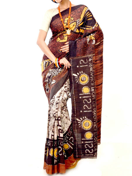 Batik Saree From West Bengal In Brown & White - PWBSAI21MY10