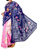 Batik Saree From West Bengal In Blue -Pink & White - PWBSAI21MY12