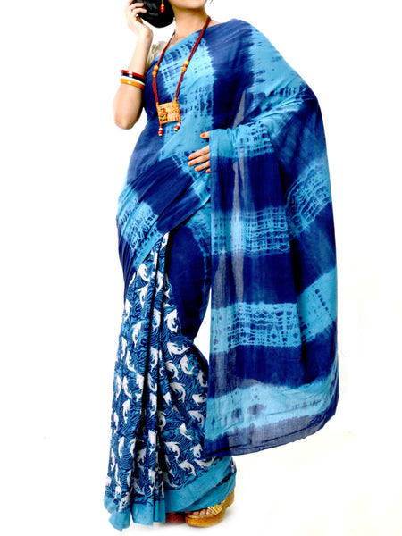 Batik Saree From West Bengal In Blue  - PWBSAI20MY24