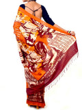 Batik Saree From West Bengal In Saffron & Deep Orange - PWBSAI21MY17