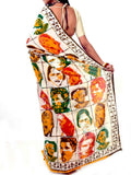 Batik Saree From West Bengal In White-Green & Yellow - PWBSAI21MY21