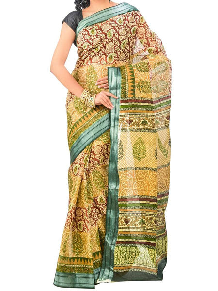 Saree From West Bengal In Yellow & Green - PWBSAI26AG3