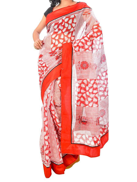 Saree From West Bengal In Red & White - PWBSAI26AG4
