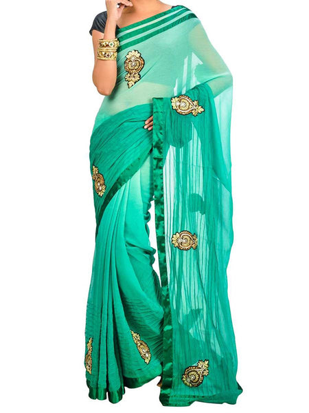 Saree From West Bengal In Green - PWBSAI26AG11