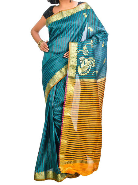 Saree From West Bengal In Blue & Golden - PWBSAI26AG13